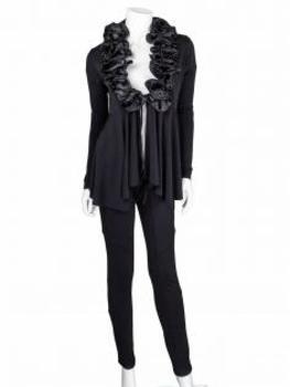 Cardigan mit Rüschen, schwarz (Bild 2)