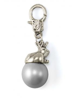 Charm Anhänger Frosch mit Perle, grau