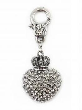 Charm Herz- Krone mit Strass, silber von Fashion Jewelry