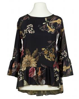 Chiffon Bluse Floral, schwarz