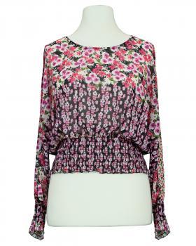 Chiffon Bluse Floral, schwarz von New Collection