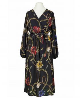 Chiffon Kleid Wickeloptik, schwarz von Made in Italy