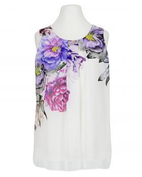 Chiffon Top mit Blumen, weiss von Diana