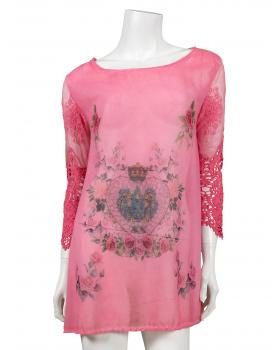 Chiffon Tunika mit Print, pink von ever new fashion