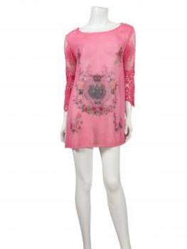 Chiffon Tunika mit Print, pink (Bild 2)