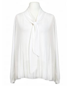 Chiffonbluse mit Plissee, weiss