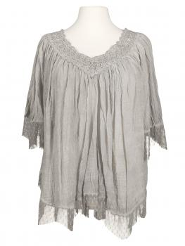 Empire Bluse Tunikastil, grau