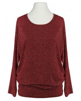 Damen Long Shirt Lurex, bordeaux