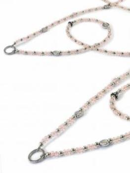Grundkette Glasperlen für Charms, rosa