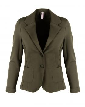 Jersey Blazer tailliert, khaki von fashion made in italy