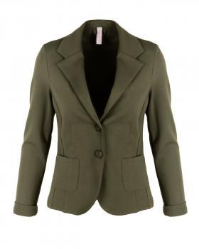Jersey Blazer tailliert, oliv von fashion made in italy