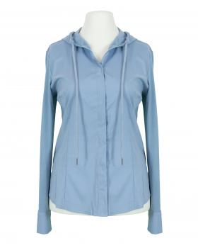 Jersey Bluse mit Kapuze, eisblau von fashion made in italy