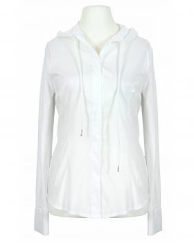 Jersey Bluse mit Kapuze, weiss von fashion made in italy