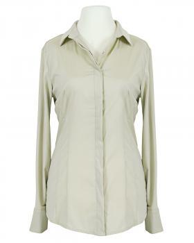 Jersey Hemdbluse, beige von fashion made in italy