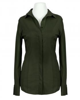 Jersey Hemdbluse, oliv von fashion made in italy