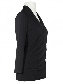 Jersey Shirt Wickeloptik, schwarz (Bild 2)