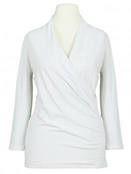 Jersey Shirt Wickeloptik, weiss