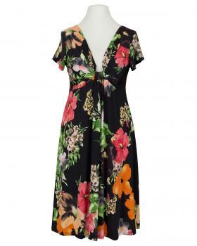 Jerseykleid floral, schwarz