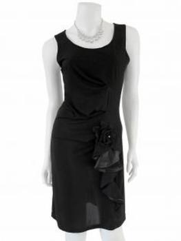 Jerseykleid mit Volant, schwarz