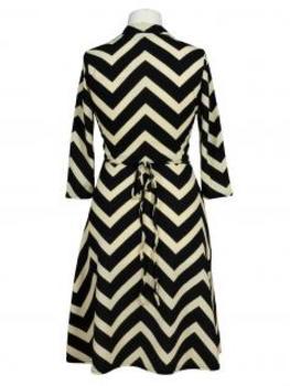 Jerseykleid Streifen, schwarz