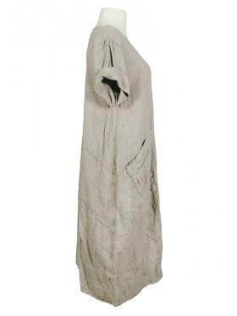 Kleid Leinen Halbarm, beige