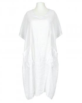 Kleid Leinen Halbarm, weiss