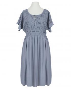 Kleid mit Lochstickerei, jeansblau von Spaziodonna