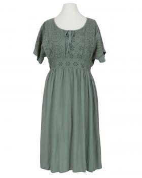 Kleid mit Lochstickerei, khaki