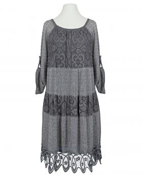 Kleid mit Spitze, grau