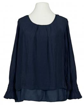 Lagenlook Bluse mit Seide, dunkelblau