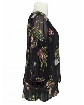 Lagenlook Bluse mit Seide, schwarz (Bild 2)