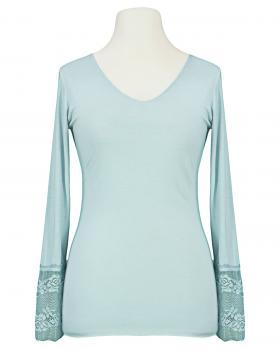Langarm Shirt mit Spitze, blau von Esvivid