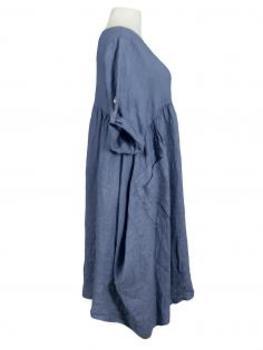 Leinekleid Ballonform, jeansblau