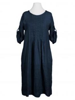 Leinenkleid mit Biesen, dunkelblau