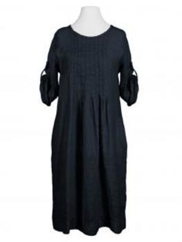 Leinenkleid mit Biesen, schwarz (Bild 1)
