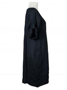 Leinenkleid mit Biesen, schwarz