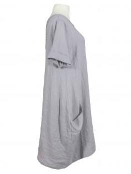 Leinen Kleid Spitze, grau