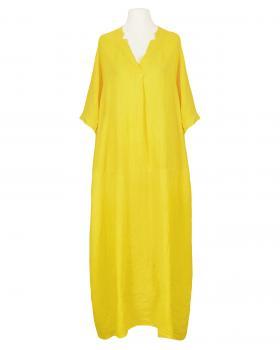 Leinenkleid lang, gelb von Made in Italy