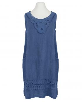 Leinenkleid mit Baumwollspitze, blau von Diana