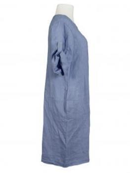 Leinenkleid mit Biesen, jeansblau