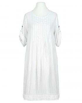 Leinenkleid mit Biesen, weiss von Made in Italy