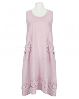 Leinenkleid mit Häkelspitze, rosa von Made in Italy