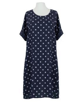 Leinenkleid mit Punkten, dunkelblau von Puro Lino