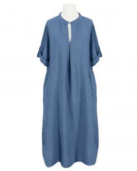 Leinenkleid Stehkragen, jeansblau von Puro Lino