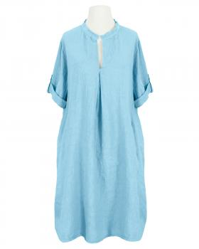 Leinenkleid Stehkragen knielang, hellblau von Puro Lino