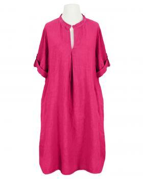Leinenkleid Stehkragen knielang, pink von Puro Lino