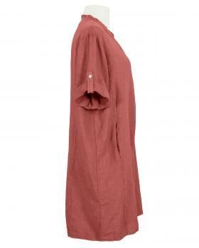 Leinenkleid Stehkragen knielang, ziegelrot (Bild 2)