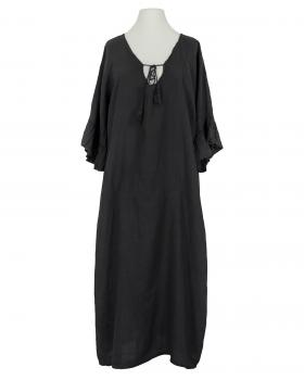 Leinenkleid Volantarm, schwarz von Diana