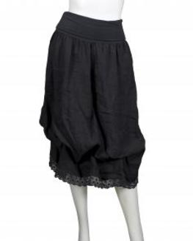 Leinenrock mit Spitze, schwarz