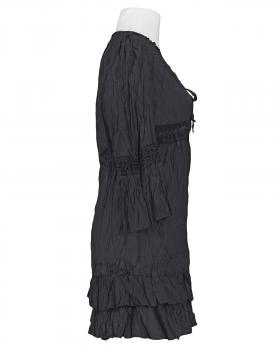 Long Bluse mit Seide, schwarz